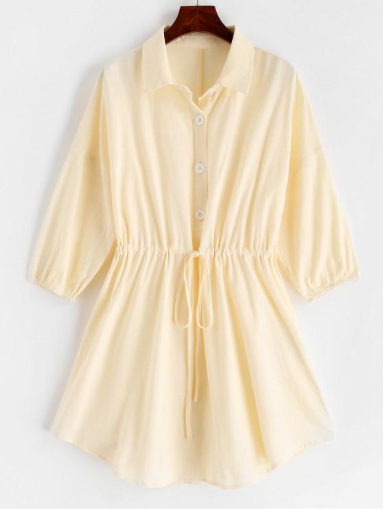 lady ZAFUL Half Button Drawstring A Line Dress - CREAM L