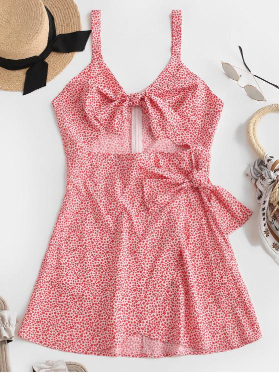 ZAFUL Knot Cutout Star Print Sundress - Rojo Frijol S