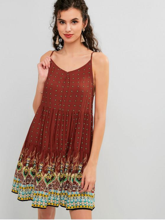 outfit ZAFUL Flounce Printed Cami Beach Dress - MULTI M