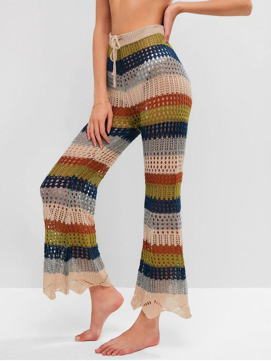 affordable Drawstring Multi-striped Bootcut Crochet Pants - MULTI-A XL