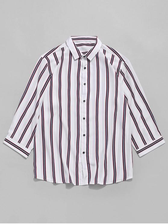 chic Vertical Striped Print Button Shirt - WHITE XS