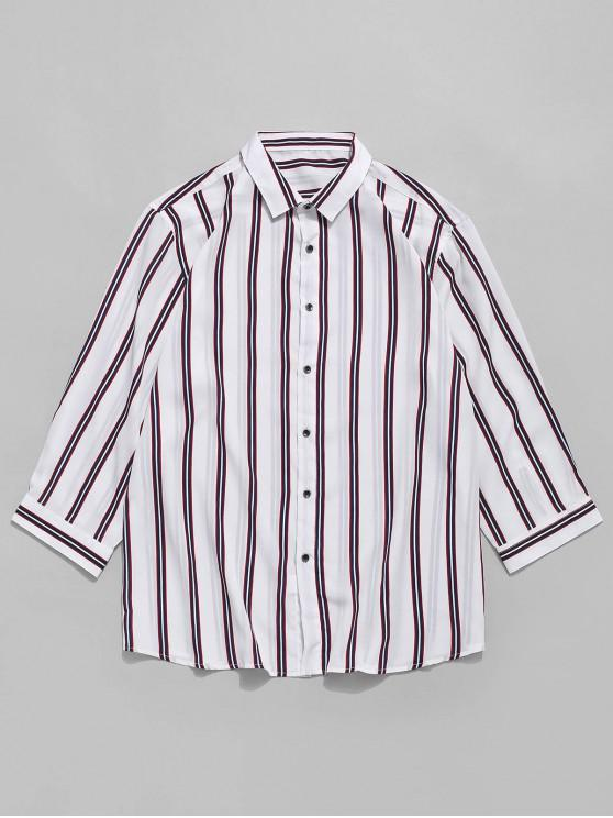 unique Vertical Striped Print Button Shirt - WHITE M