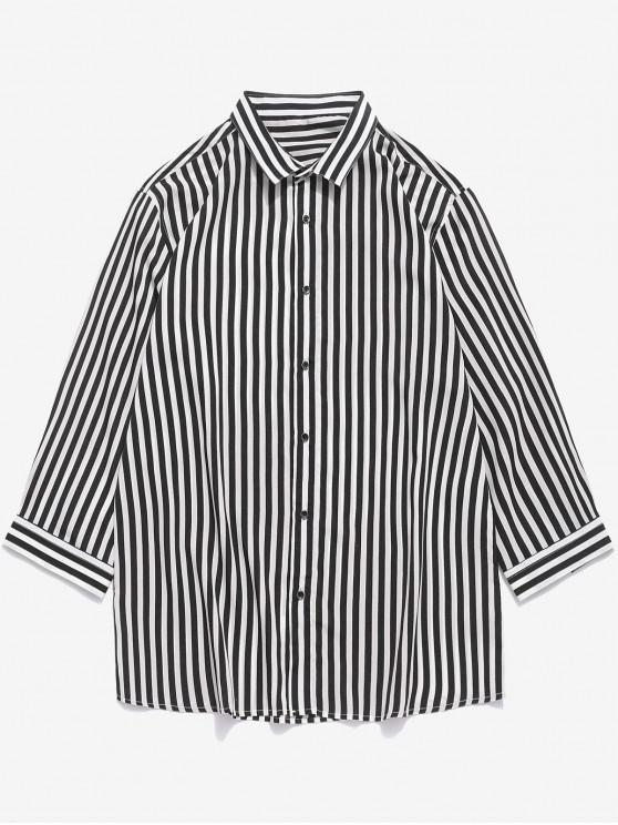 affordable Vertical Striped Print Curved Hem Button Shirt - BLACK XS