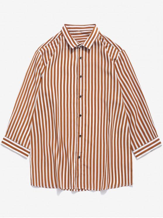 ladies Vertical Striped Print Curved Hem Button Shirt - CAMEL BROWN S
