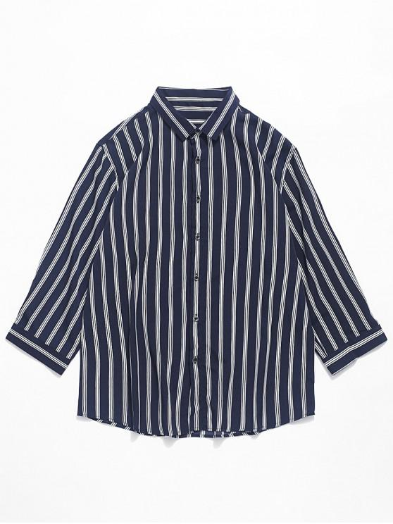 outfit Vertical Striped Print Curved Hem Shirt - MIDNIGHT BLUE L