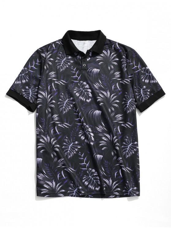 Camiseta con estampado de hojas tropicales en la parte delantera de Hawaii. - Azul Profundo XL