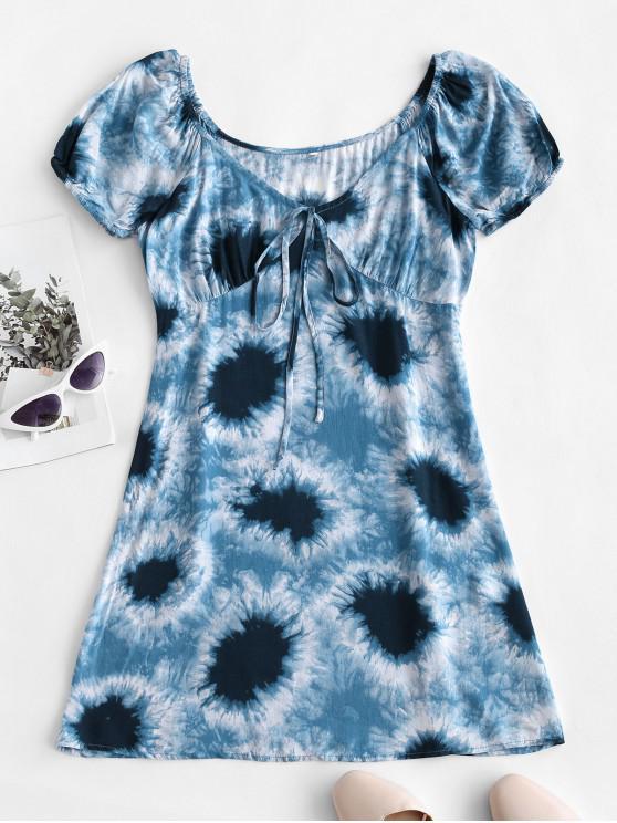 best ZAFUL Plunge Tie Dye Short Tunic Dress - BLUE GRAY M