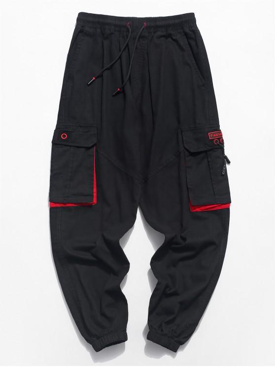 Pantalón de chándal con cordón de panel multibolsillo - Negro S