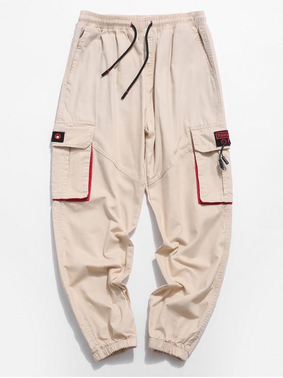 ladies Multi-pocket Panel Drawstring Jogger Pants - CORNSILK M
