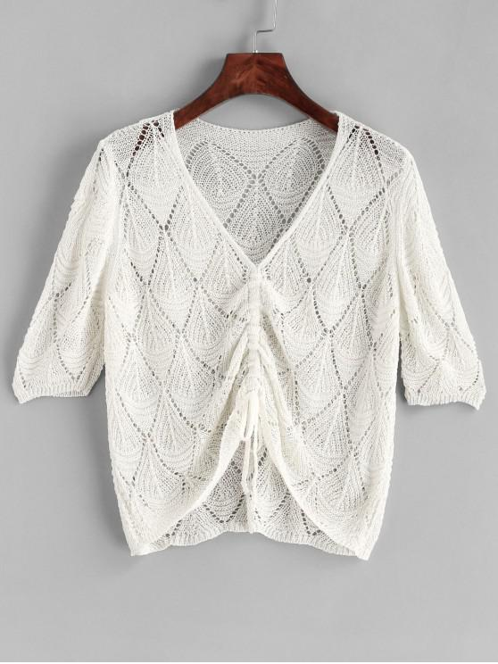 Crochet Cinched V Neck Cover Up Top - Blanco Talla única