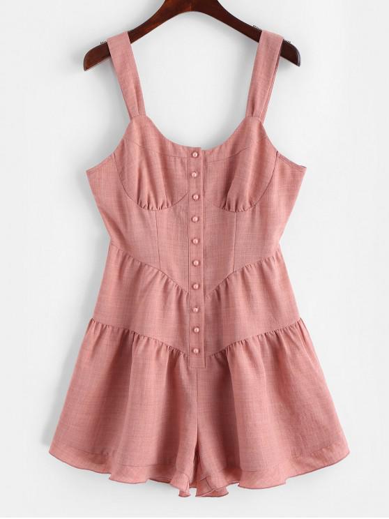 ZAFUL Flounce Button-placket Sleeveless Romper - Rosa Naranja M
