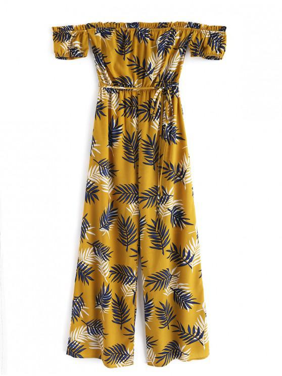 affordable ZAFUL Leaf Ruffle Off Shoulder Wide Leg Jumpsuit - BEE YELLOW L
