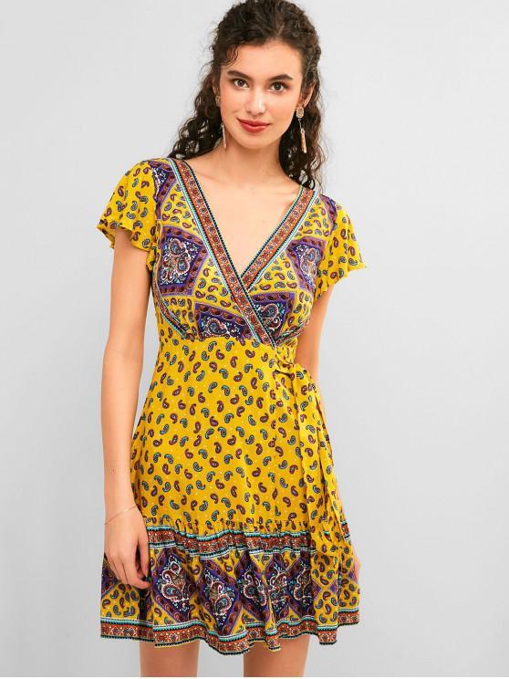 hot ZAFUL Flounce Paisley Bohemain Mini Wrap Dress - GOLDENROD S