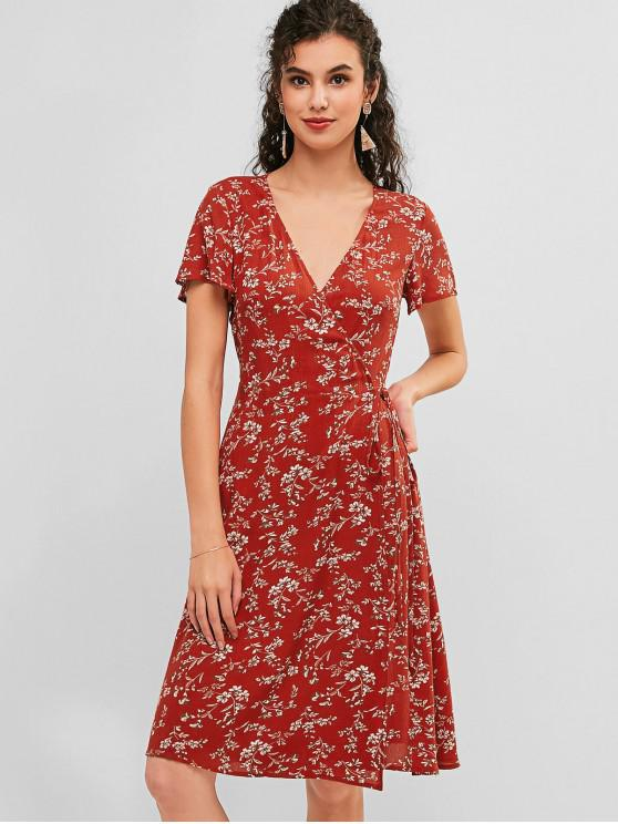 ZAFUL Floral Knee Length Casual Wrap Dress CHESTNUT RED