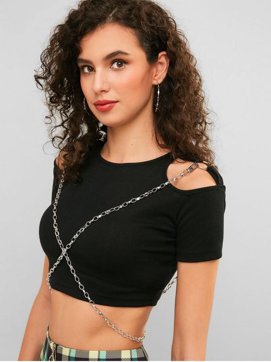 fashion Chains Embellished Cut Out Crop Tee - BLACK L