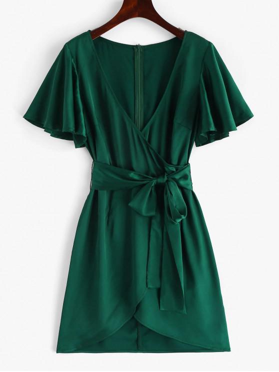 ZAFUL manga de mariposa hundiendo vestido Surplice - Azul Verdoso L