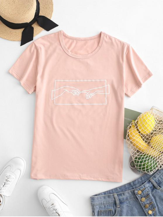 affordable Hand Graphic Jersey Tee - ROSE S