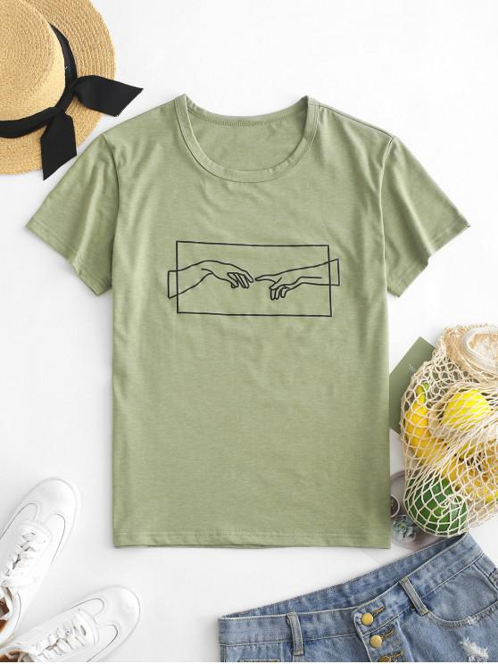 buy Hand Graphic Jersey Tee - FERN GREEN M