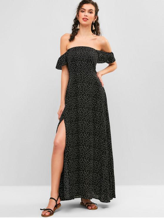 buy ZAFUL Chiffon Polka Dot Ruffled Slit Maxi Dress - NIGHT M