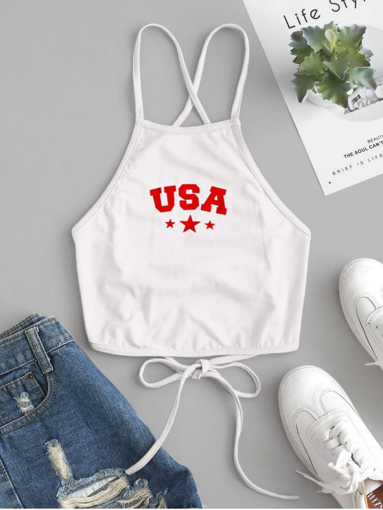 shops ZAFUL Star Letter Graphic Lace Up Cami Top - WHITE S