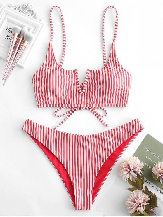 trendy ZAFUL V-wired Striped Bikini Set - LAVA RED L