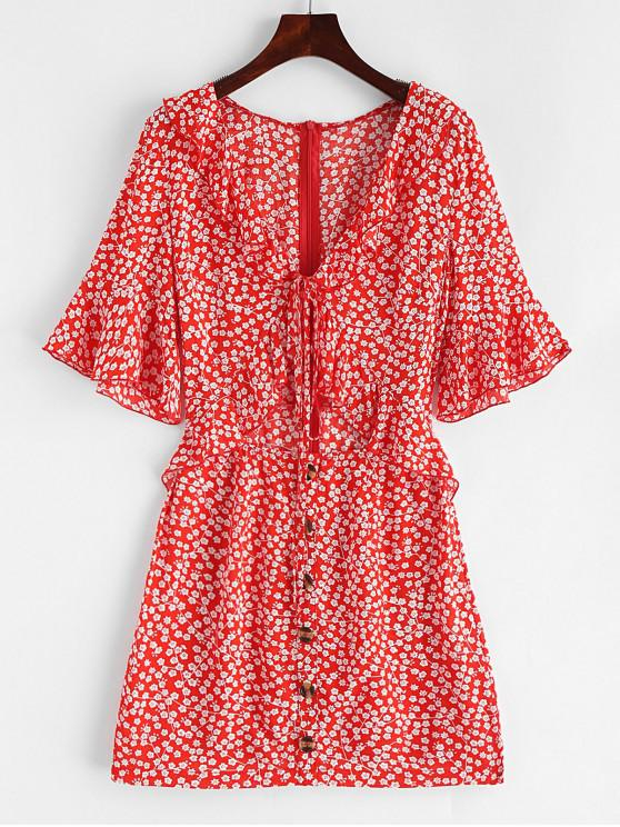 hot ZAFUL Plunge Ruffled Ditsy Floral Cut Out Dress - RED S