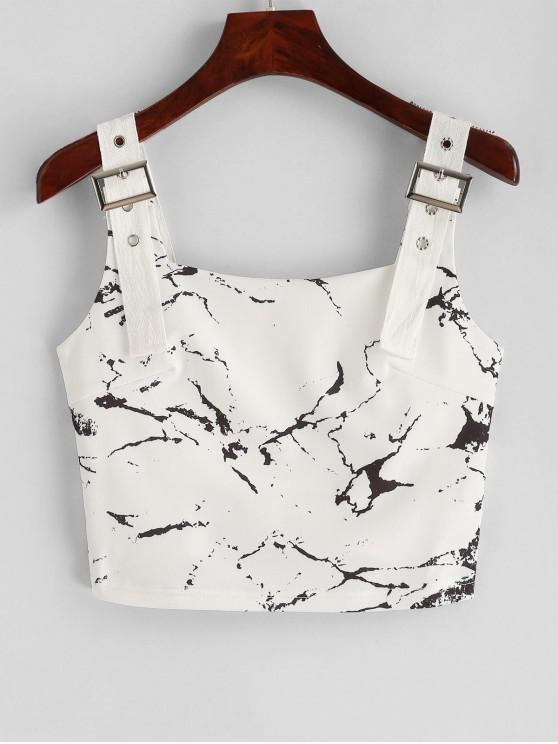 trendy Cropped Grommet Marble Print Tank Top - WHITE L