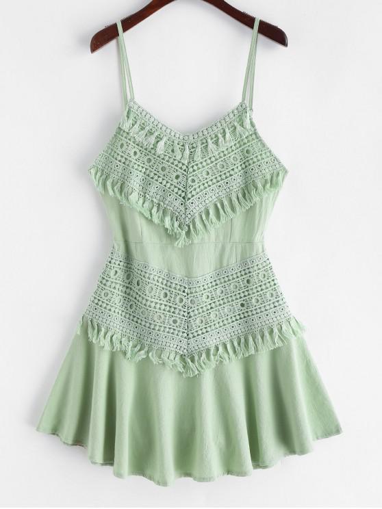 best Crochet Panel Tassels A Line Cami Dress - DARK SEA GREEN M