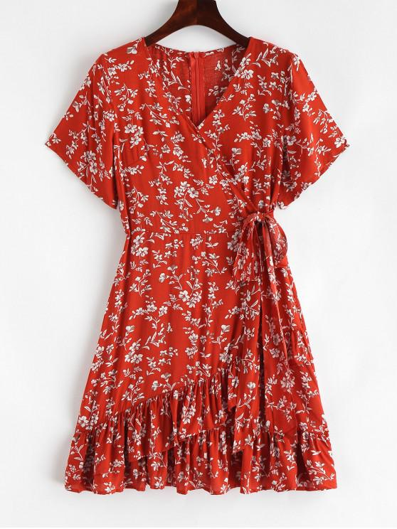 ladies Ruffles Floral Print Knotted A Line Dress - CHESTNUT RED L