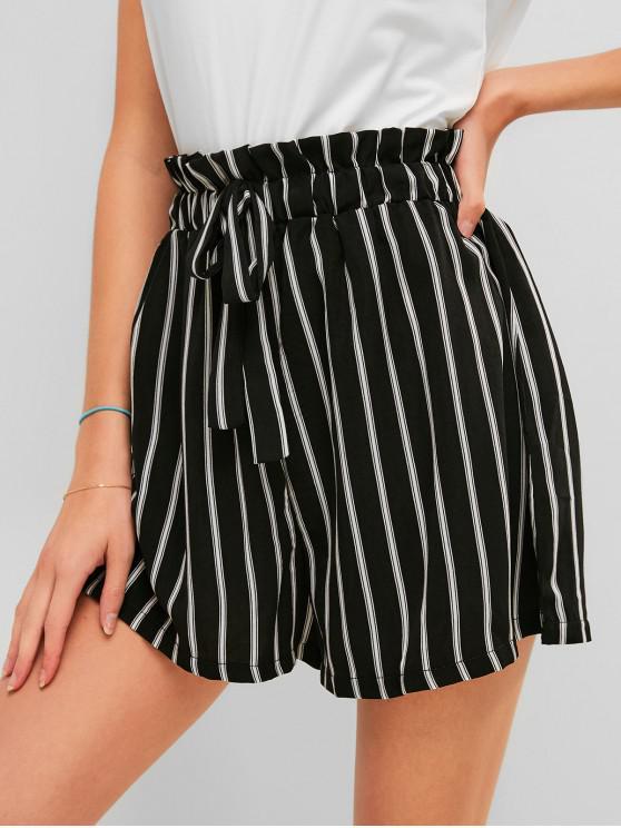 fancy Striped Bowknot Paperbag Shorts - BLACK XL