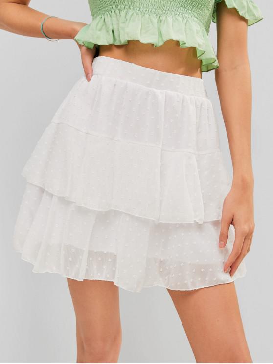 women's High Waist Swiss Dot Layered Skirt - WHITE S