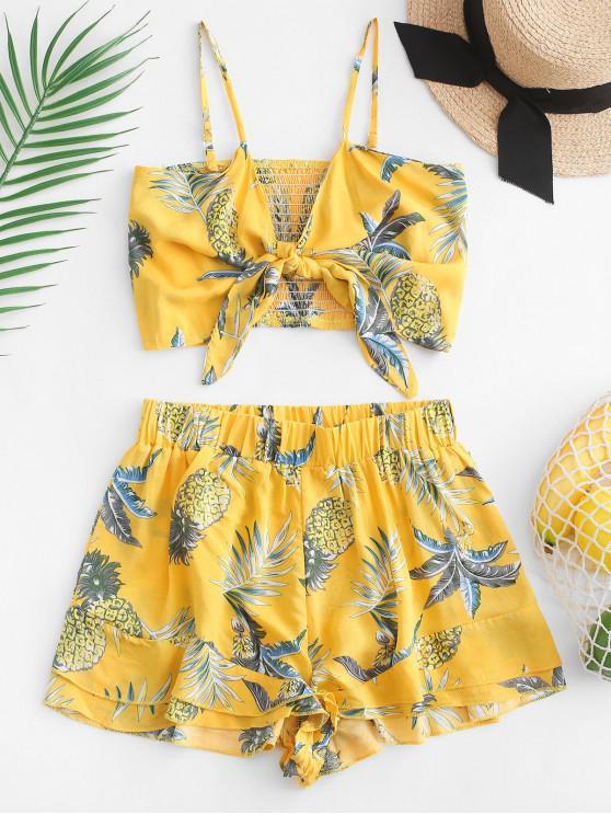 latest Smocked Back Pineapple Print Loose Shorts Set - GOLDENROD L