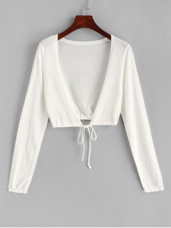 women Plunging Tie Hem Crop Cover Up Top - WHITE ONE SIZE
