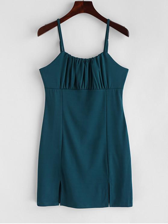 fancy Solid Color Slits A Line Cami Dress - GREENISH BLUE S