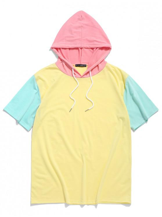 shops ZAFUL Color Block Panel Hooded T-shirt - YELLOW L
