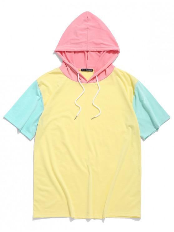 ZAFUL T-shirt à Capuche Panneau en Bloc de Couleur - Jaune 2XL