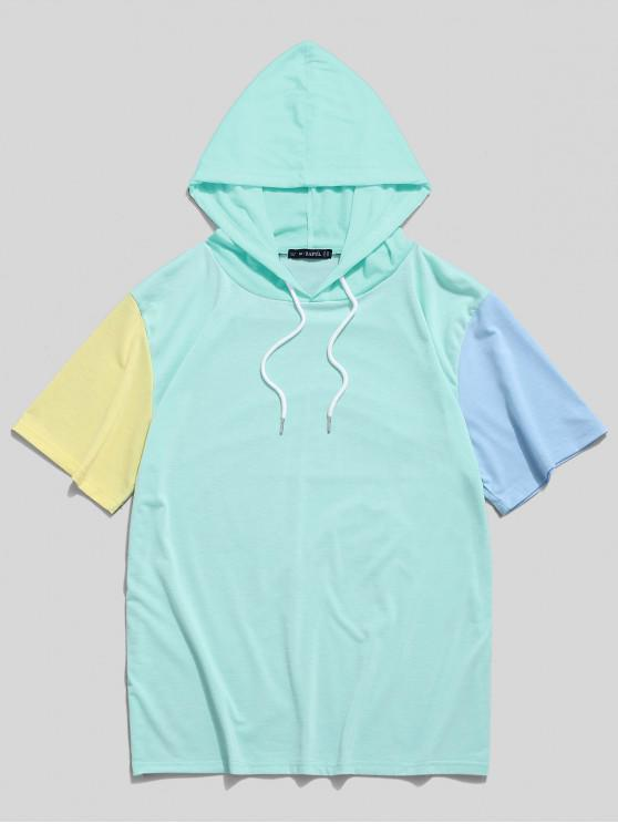 best ZAFUL Color Block Panel Hooded T-shirt - MEDIUM TURQUOISE S