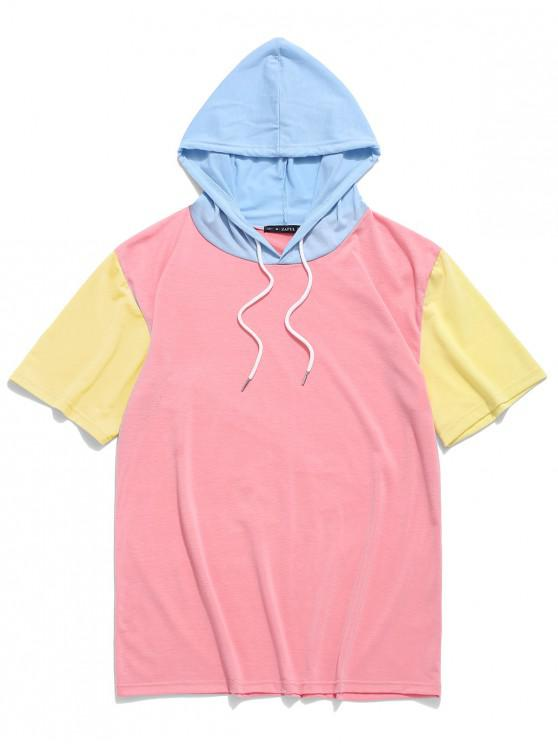ladies ZAFUL Color Block Panel Hooded T-shirt - PINK XL