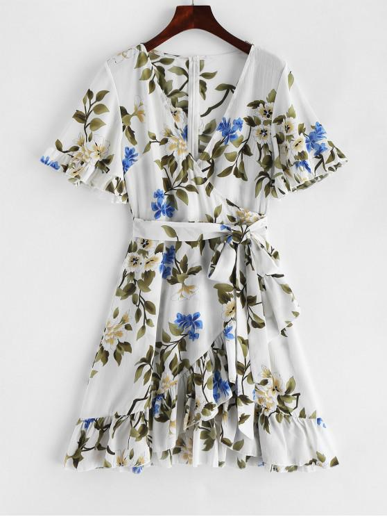 women Ruffles V Neck Floral Print Knotted Dress - WHITE M