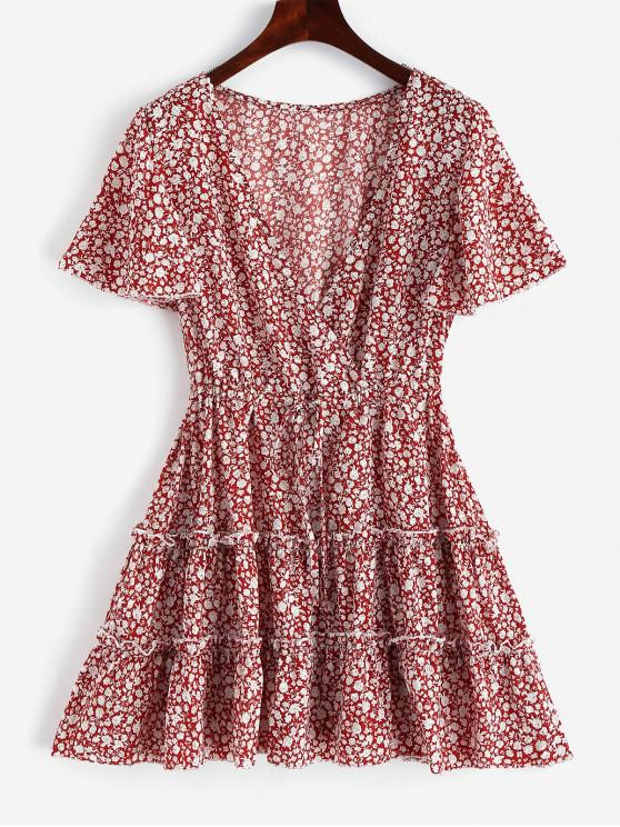 sale Tiny Floral Drawstring Surplice Flare Dress - CHESTNUT RED S