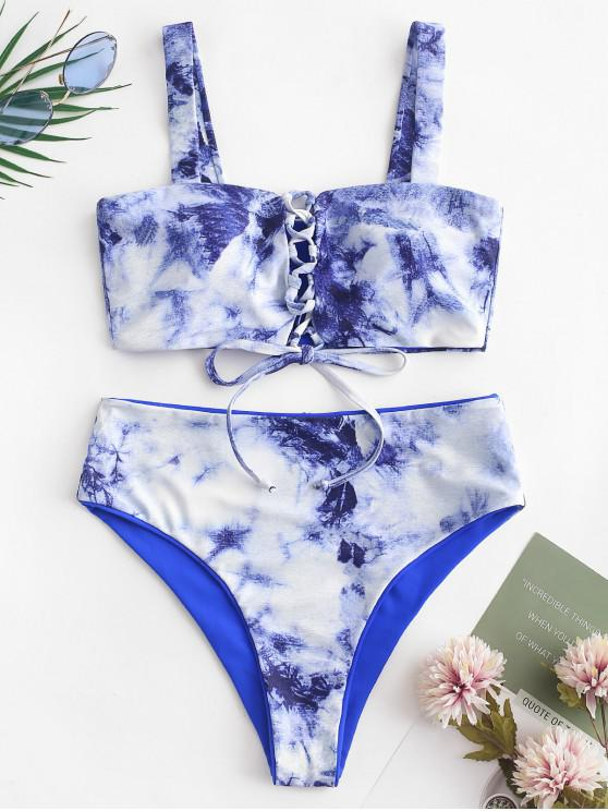 new ZAFUL Tie Dye Lace-up Reversible Bikini Swimsuit - COBALT BLUE L