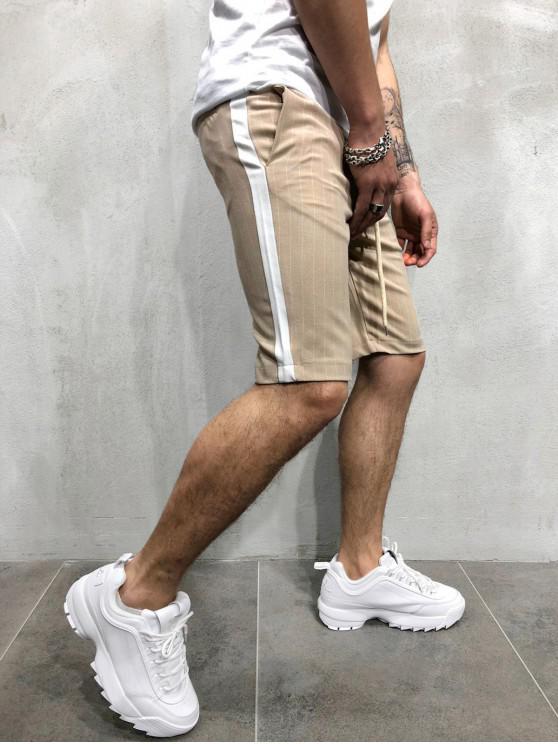 chic Color Block Stripes Print Drawstring Shorts - KHAKI 2XL
