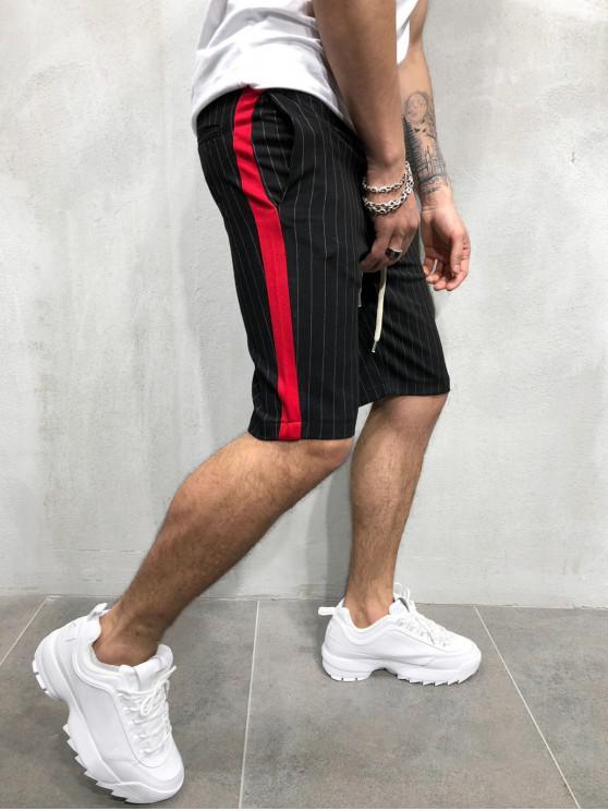 Pantalones cortos con estampado de rayas de bloques de colores - Negro 3XL