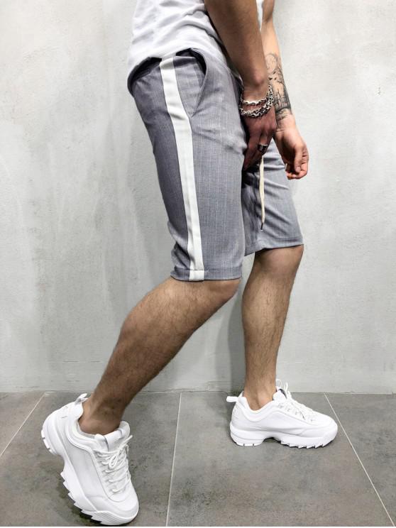 women Color Block Stripes Print Drawstring Shorts - LIGHT GRAY M