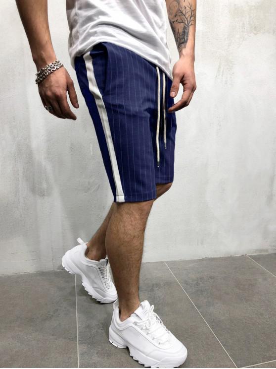 Pantalones cortos con estampado de rayas de bloques de colores - Cadetblue 3XL