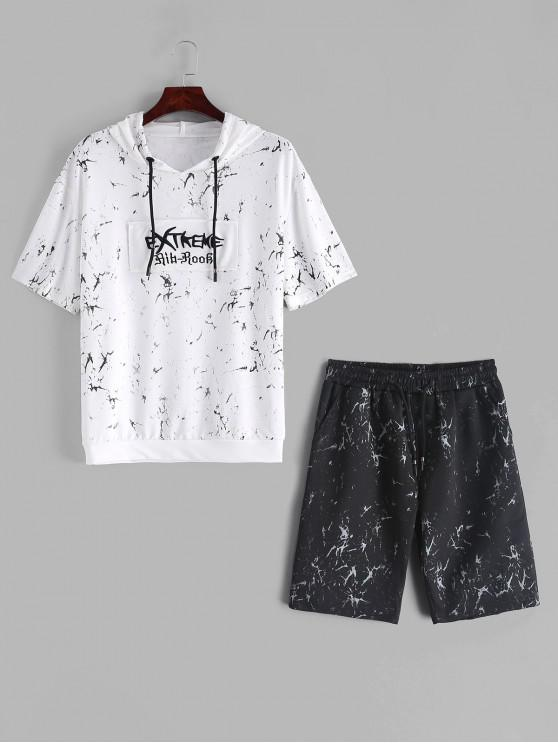 chic Marble Patchwork Print Hooded T-shirt and Shorts Suits - MULTI S