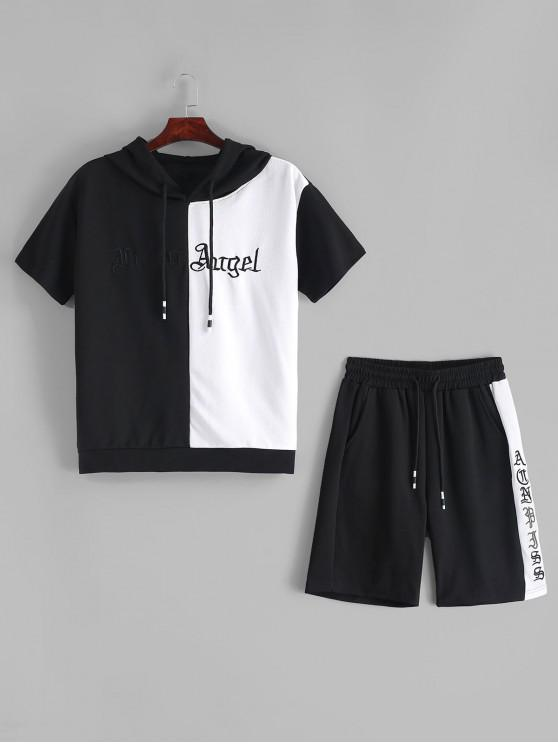 buy Letter Color Block Spliced Hooded T-shirt and Shorts - BLACK S