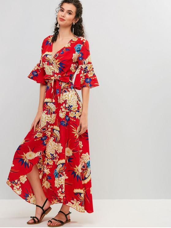 Abito con maniche a campana con stampa floreale e vestito lungo - Rosso Mollissima M