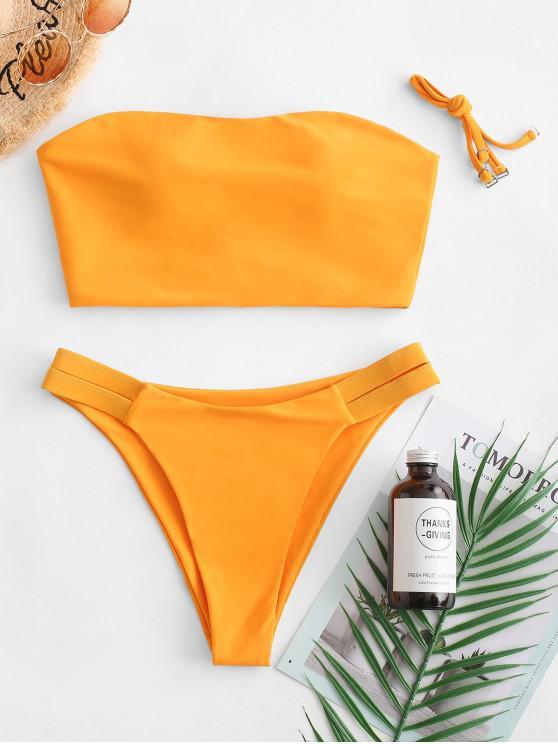 womens ZAFUL Cross High Leg Bandeau Bikini Swimsuit - SAFFRON M