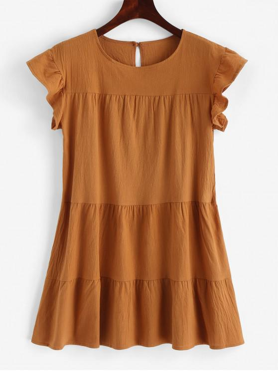 fashion Round Neck Mini Solid Dress - TIGER ORANGE M